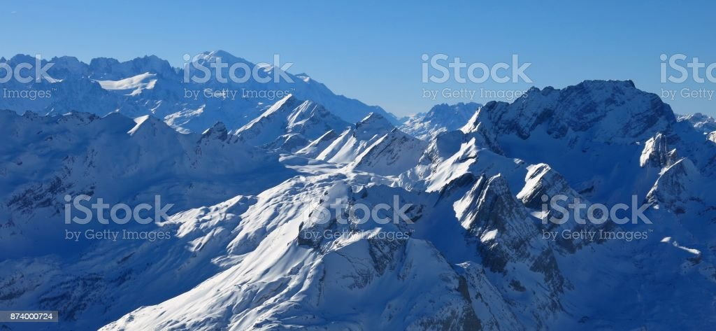 Mont Blanc seen from the Diablerets glacier, Switzerland. stock photo