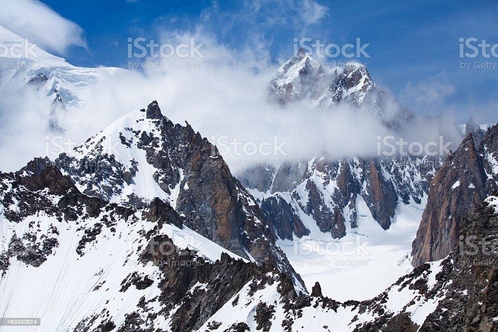Mont Blanc snow peak, Brenva glacier, Mont Blanc du Tacul stock photo