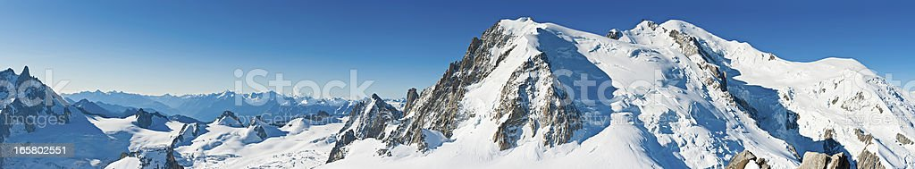Mont Blanc snow summit super panorama Alps France stock photo