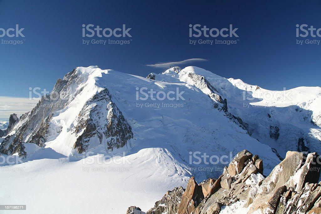 Mont Blanc Summit from Aiguille du Midi, Chamonix, France royalty-free stock photo