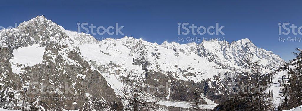 Mont Blanc (Mt. Bianco) wide panorama stock photo