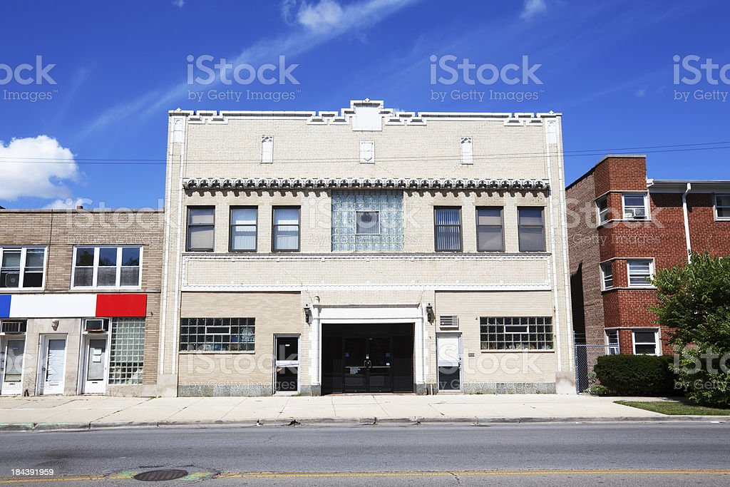 Mont Clare Masonic Temple in Chicago royalty-free stock photo