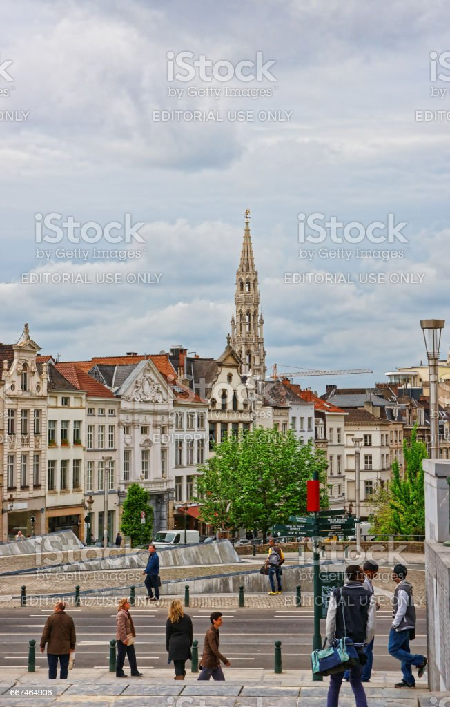 Mont des Arts garden and City Hall in Brussels stock photo