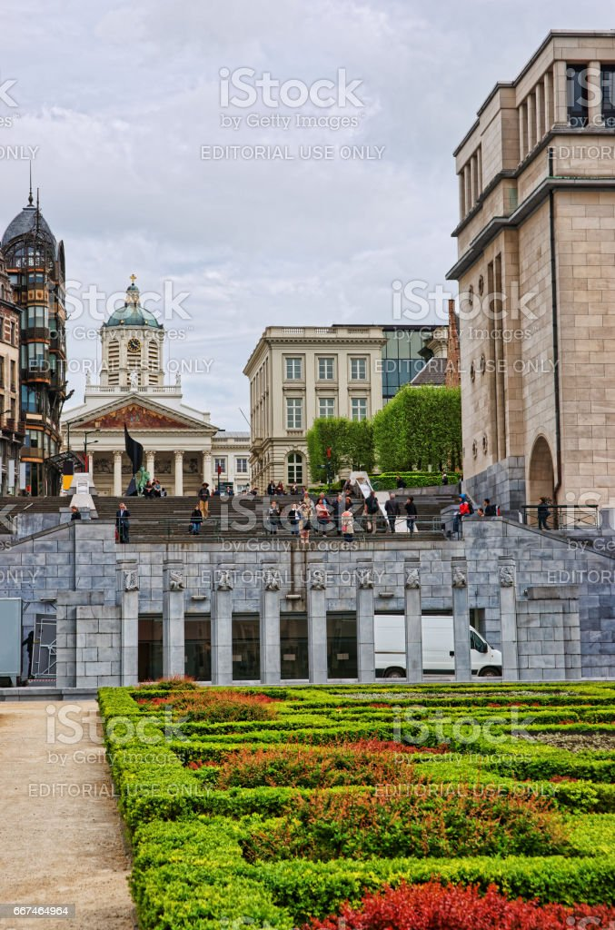 Mont des Arts garden and Kings Place Square in Brussels stock photo