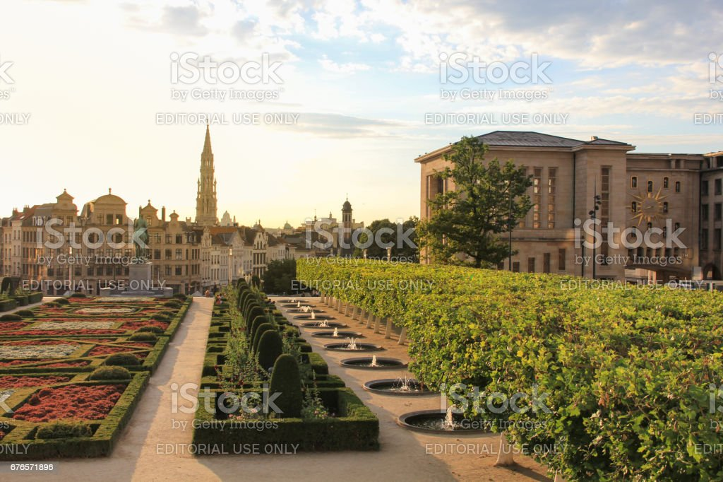 Mont des arts garden, City hall's tower and Brussels cityscape during sunset stock photo