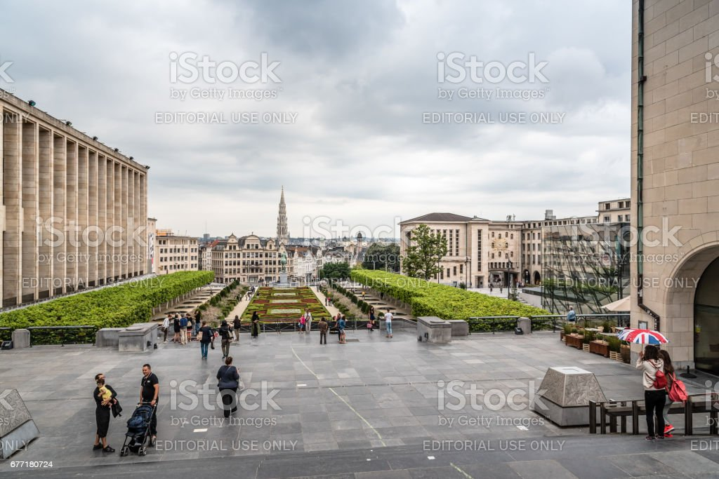 Mont des Arts Garden in Brussels and cityscape of the city centre a cloudy day stock photo