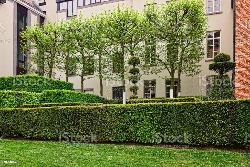 Mont des Arts garden in Brussels stock photo