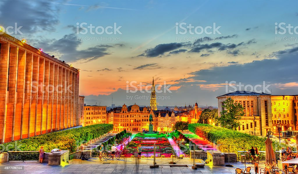 Mont des Arts in Brussels in the evening stock photo