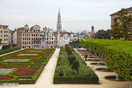 Brussels, Belgium - August 26 2017: The Kunstberg (Dutch) or Mont des Arts (French), meaning 'hill/mount of the arts', is a historic site in the center of Brussels, Belgium.