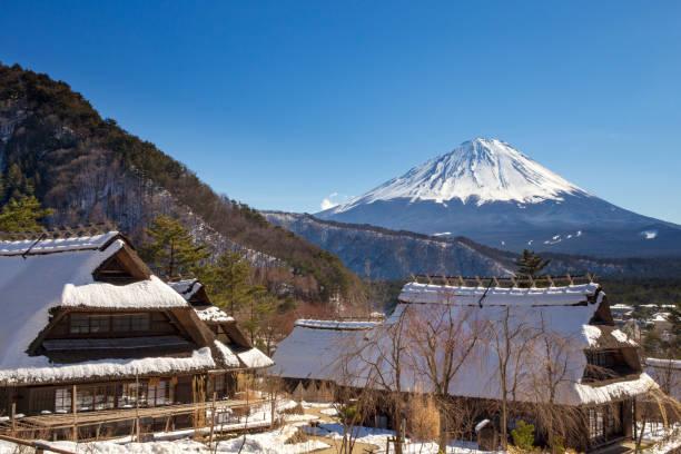Mont Fuji on a clear winter day, from Saiko Iyashino-Sato Nenba, Japan stock photo