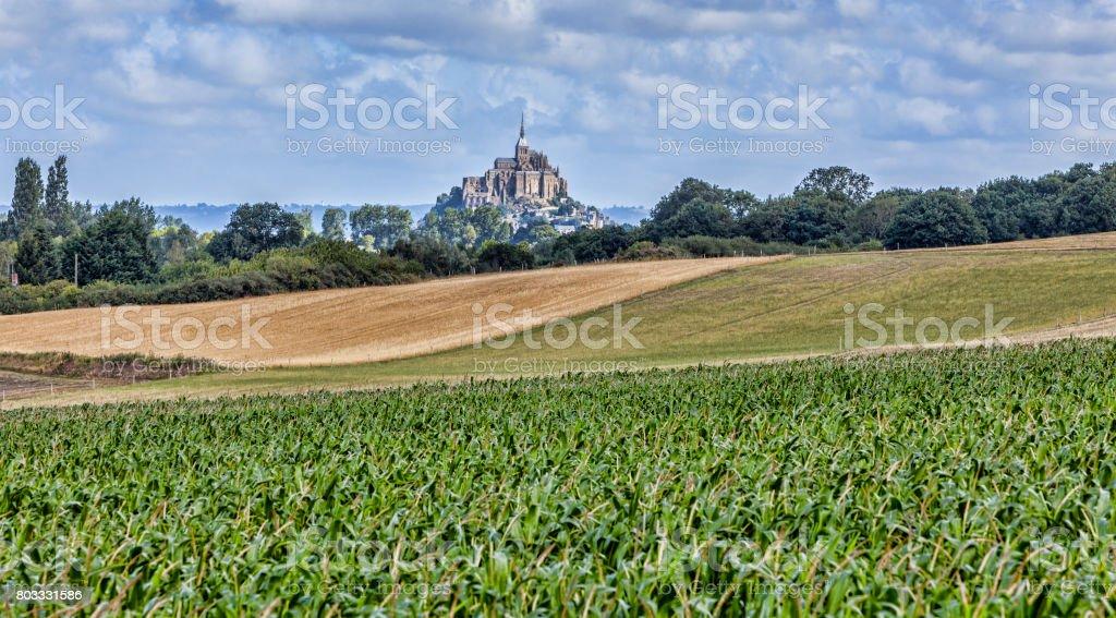 Mont Saint Michel Abbey in Normandy stock photo