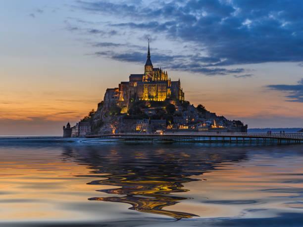 Mont Saint Michel Abbey - Normandy France stock photo