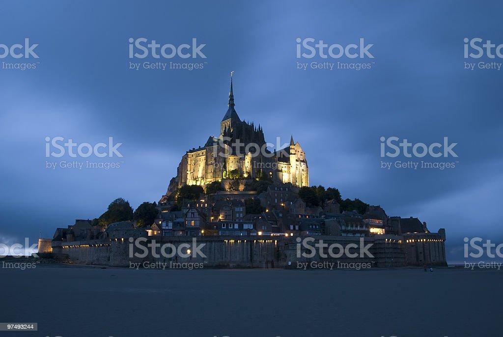 Mont Saint Michel at night royalty-free stock photo