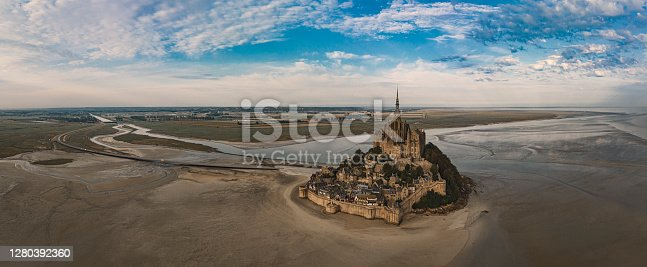 Mont Saint Michel aerial views at sunset in Normandy France