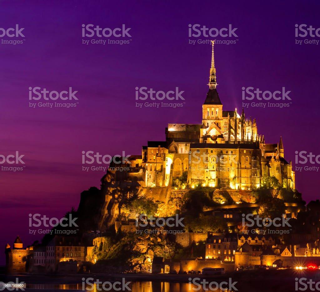 Mont Saint Michel castle at night stock photo