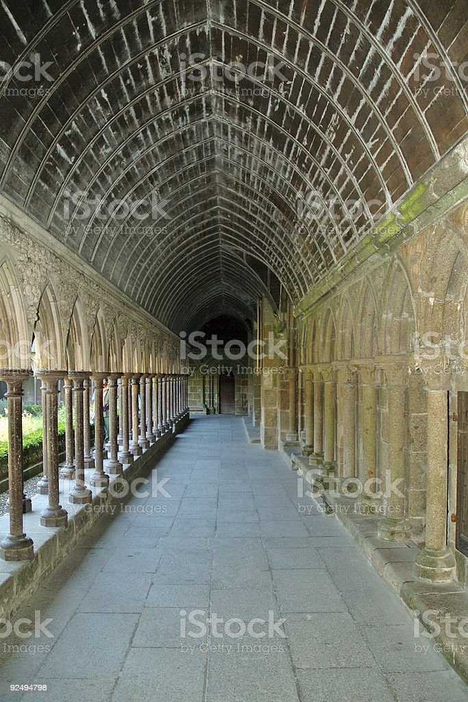 Mont Saint Michel cloister royalty-free stock photo