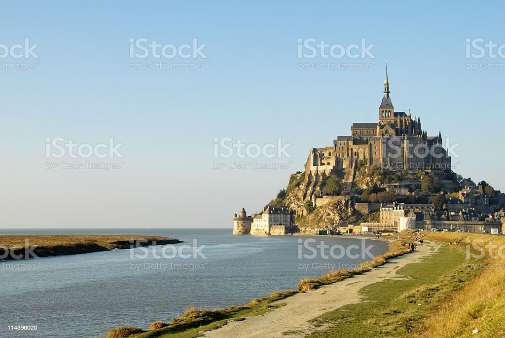Mont Saint-Michel and its bay,Normandy,France. stock photo