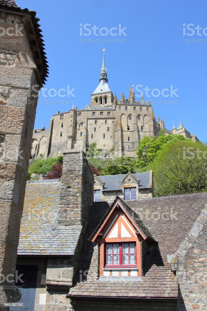 Mont Saint-Michel from the Parapet - Royalty-free Abbey - Monastery Stock Photo