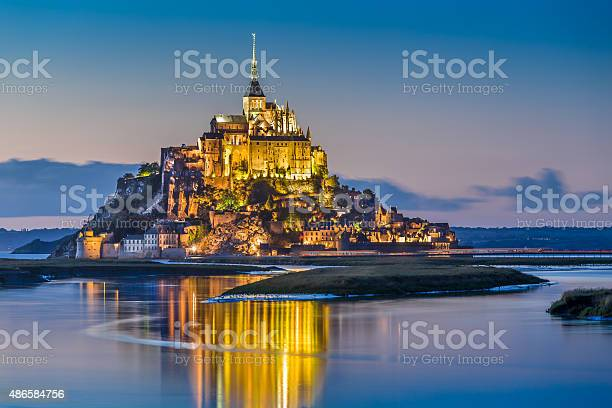 Photo of Mont Saint-Michel in twilight at dusk, Normandy, France