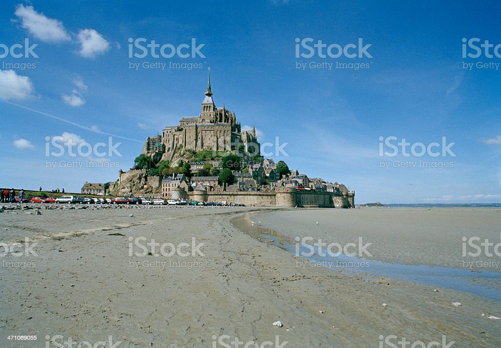Mont St. Michel and Mud Flats stock photo