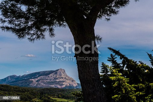Aix-en-Provence, France: Now a public park, Terrain des Peintres is where Paul Cézanne came to paint outdoors in Provence. Mont Sainte-Victoire is visible from a different angle. Copy space in the vibrant blue sky.