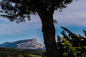 Mountain in Provence near Aix-en-Provence. Montagne Saint-Victoire has been a source of inspiration for famous painter Paul Cézanne.  It became the subject of a number of his paintings.