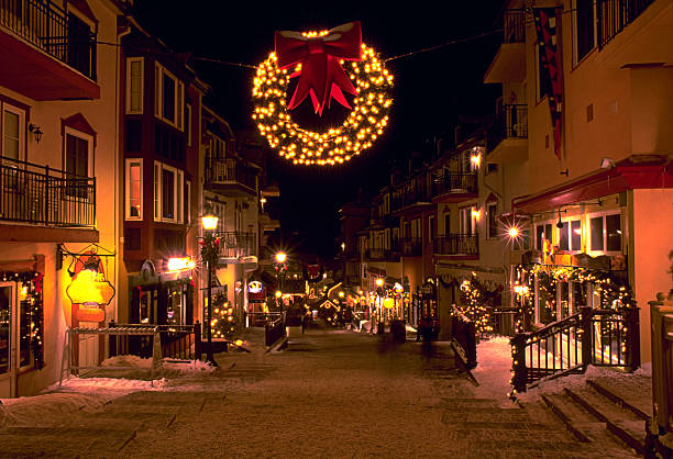 Mont Tremblant ski village in the evening at Christmas stock photo