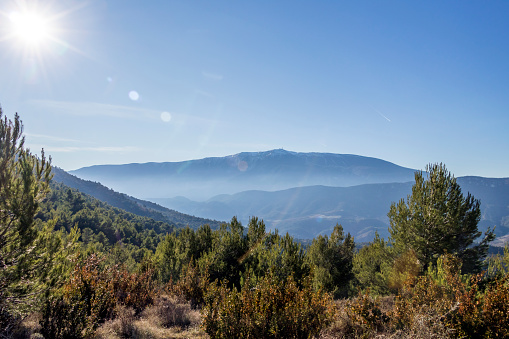 Mont Ventoux mountain in the Provence region in beautiful winter day and sun of Southern France