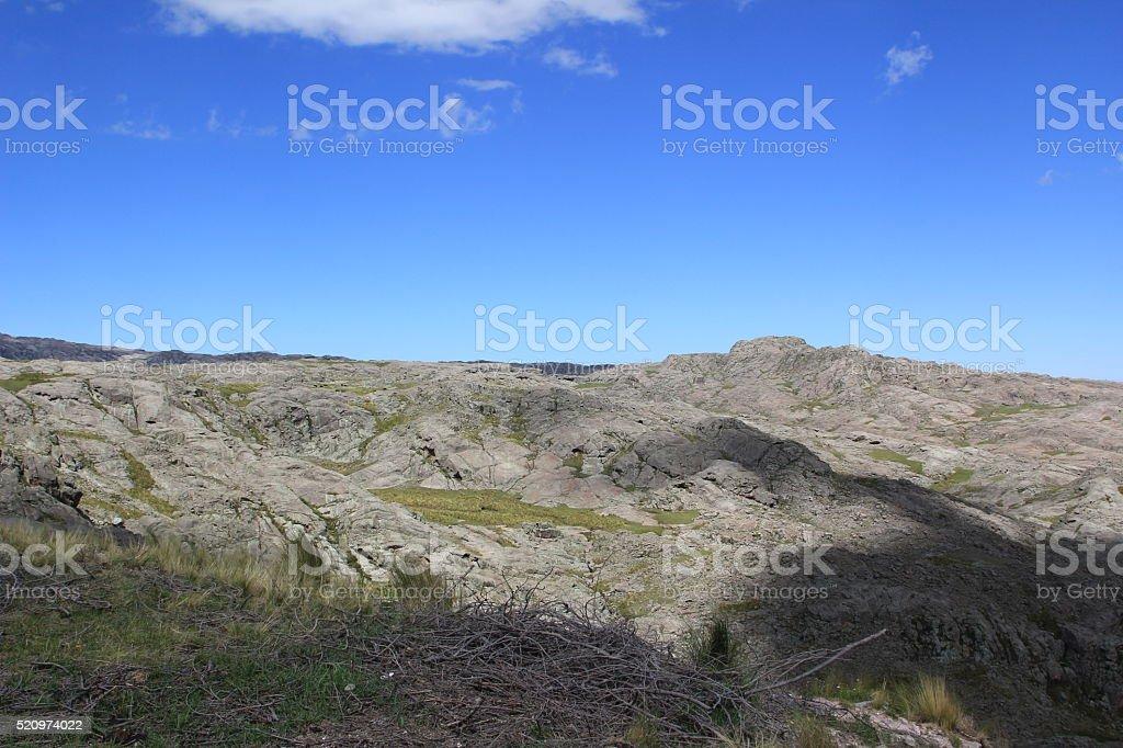 Montaña iluminada stock photo