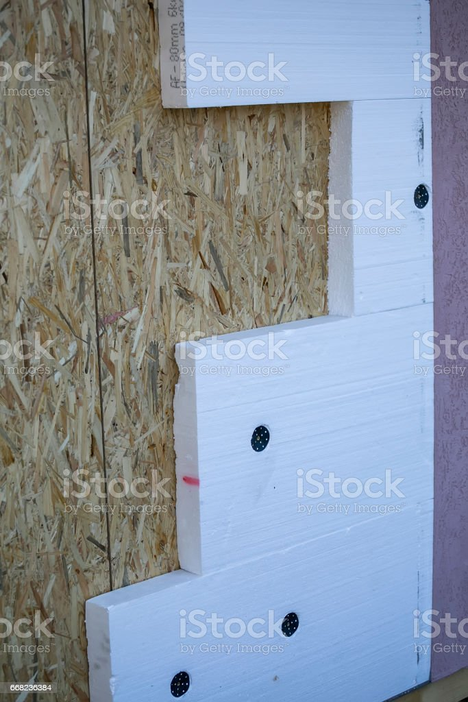 Montage house exterior wall insulation stock photo