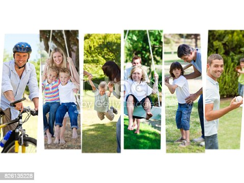 Montage of children having fun with their parents outdoors