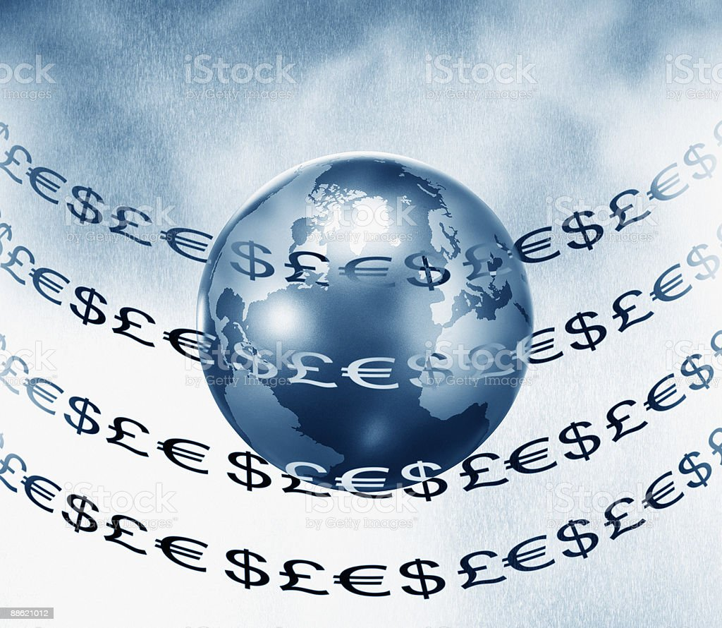 Montage of globe and euro, pound and dollar symbols royalty-free stock photo
