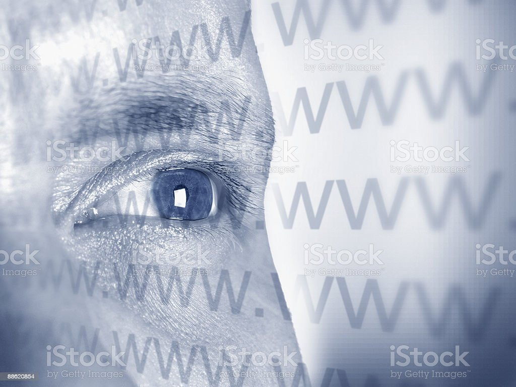 Montage of mans face and www text royalty-free stock photo