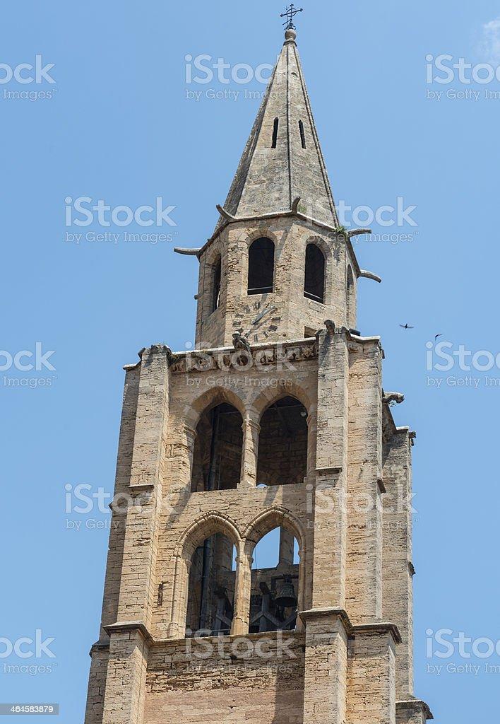 Montagnac, gothic church stock photo