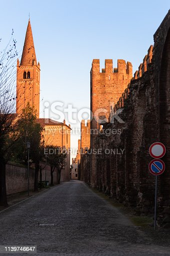 Montagnana - March 23, 2017, Italy:Under and outside the walls of the medieval walled town. Castle of San Zeno (Castello di San Zeno)