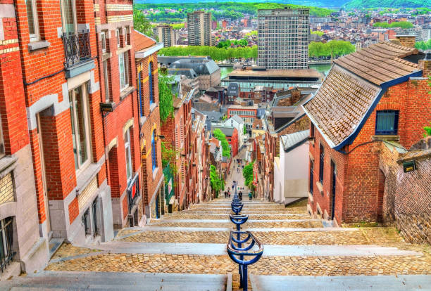 Montagne de Bueren, a 374-step staircase in Liege, Belgium Montagne de Bueren, a 374-step staircase in Liege - Belgium belgium stock pictures, royalty-free photos & images