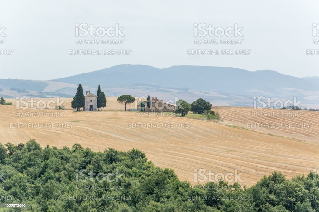 Montalcino is famous for its rolling hills and wonderful wines stock photo