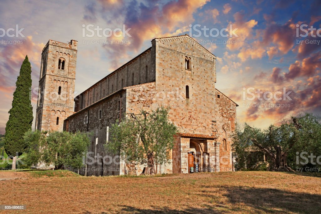 Montalcino, Tuscany, Italy: medieval Abbey of Sant'Antimo stock photo