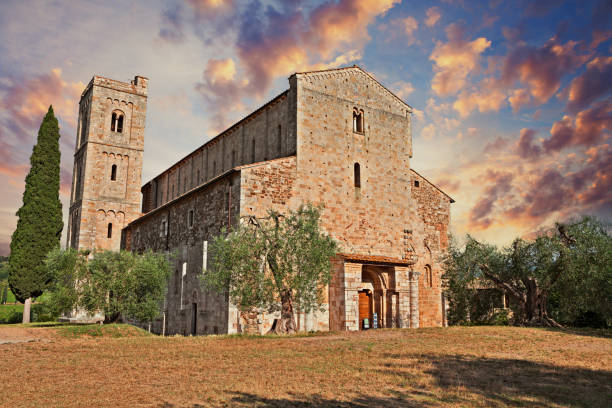 Montalcino, Tuscany, Italy: medieval Abbey of Sant'Antimo stock photo