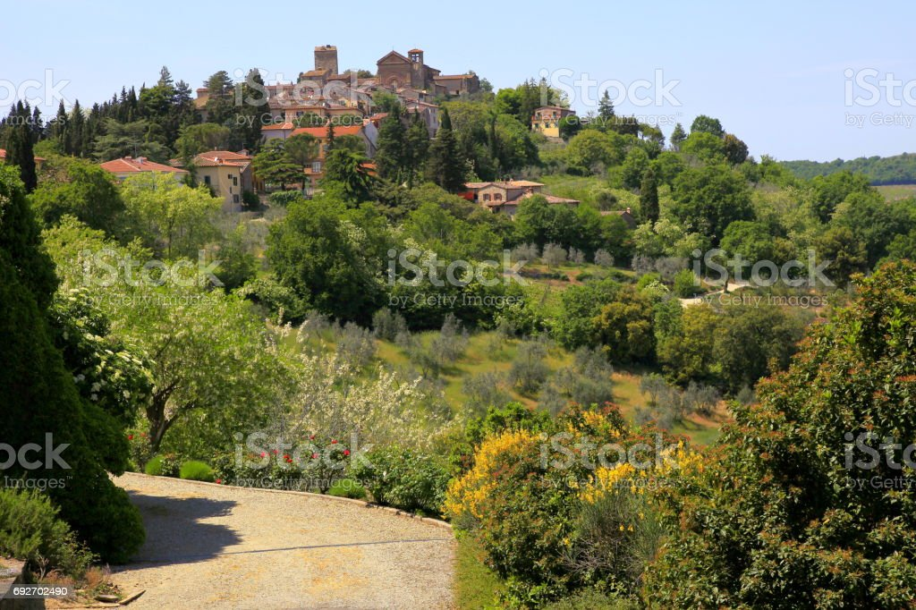 Montalcino Tuscany landscape, with cypresses and meadows at spring – Siena province, Italy stock photo