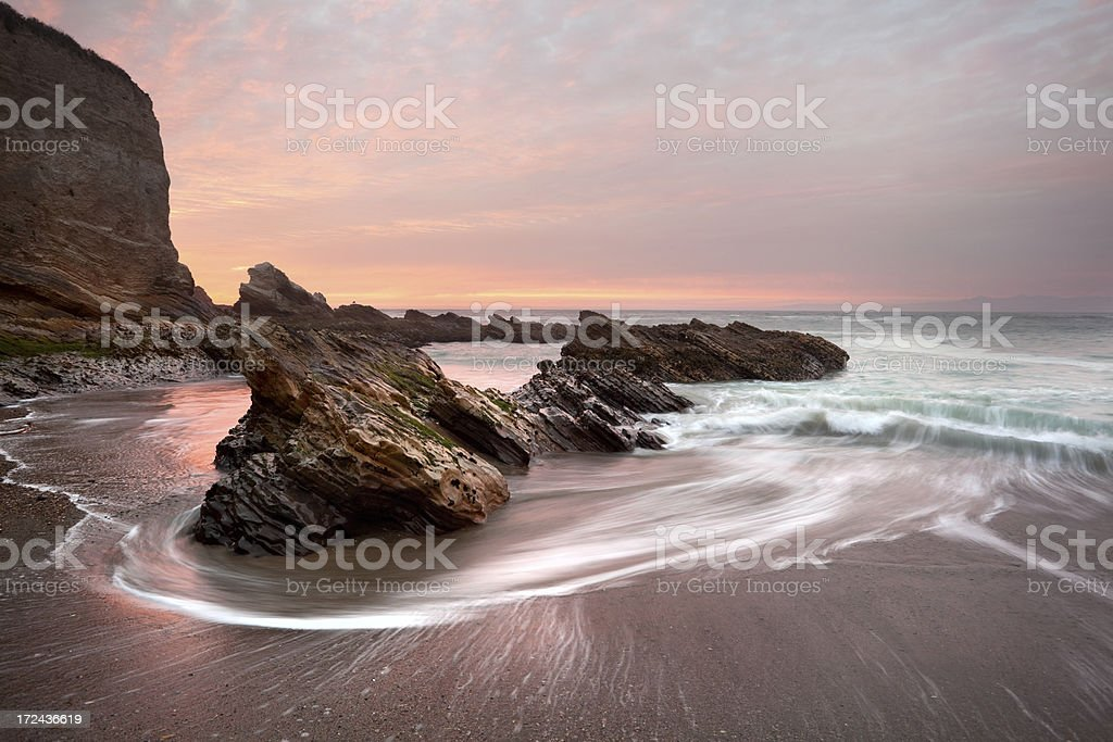 Montana De Oro State Park Beach Seascape at Sunset stock photo