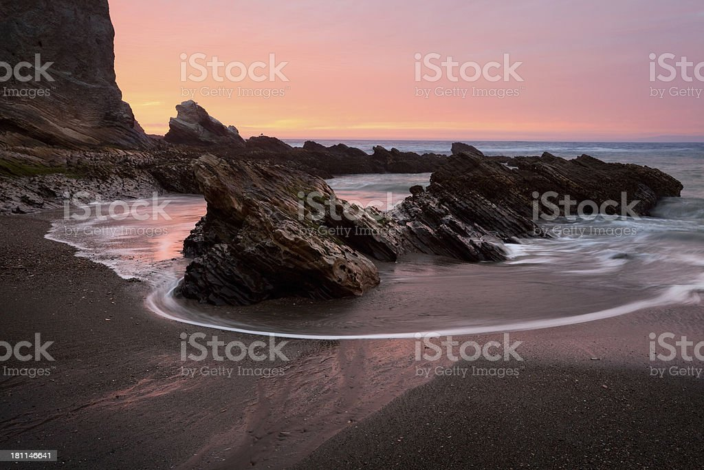 Montana De Oro State Park Beach Sunset stock photo