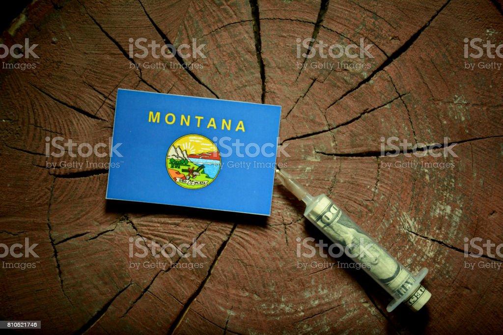 Bandeira de Montana em um toco com seringa, injetando dinheiro na bandeira - foto de acervo