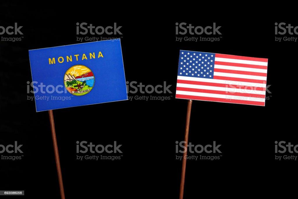 Bandeira de Montana com bandeira EUA isoladas no fundo preto - foto de acervo