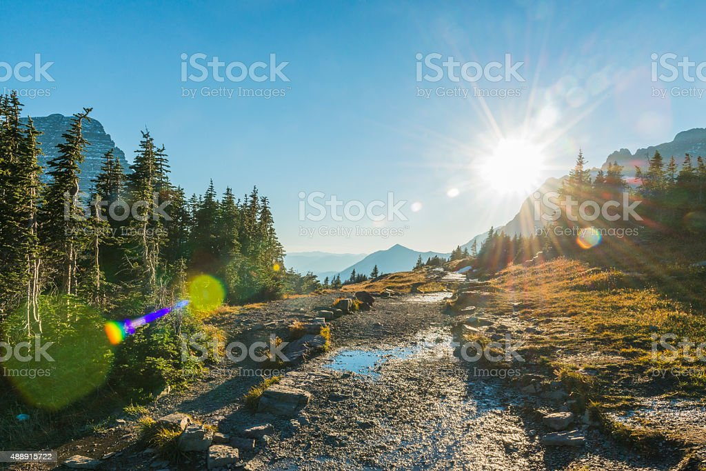 Montana Glacier National Park Hiking Trail Sunset Scenic Nature Landscape stock photo