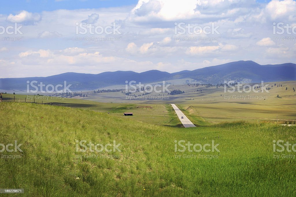 Montana road in summer royalty-free stock photo