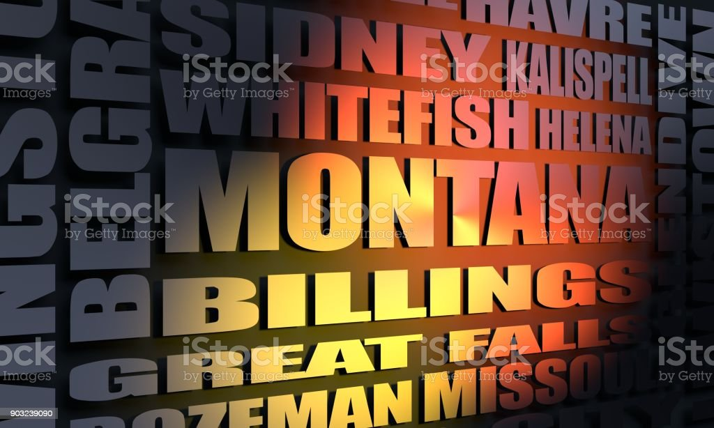 Montana state cities list stock photo