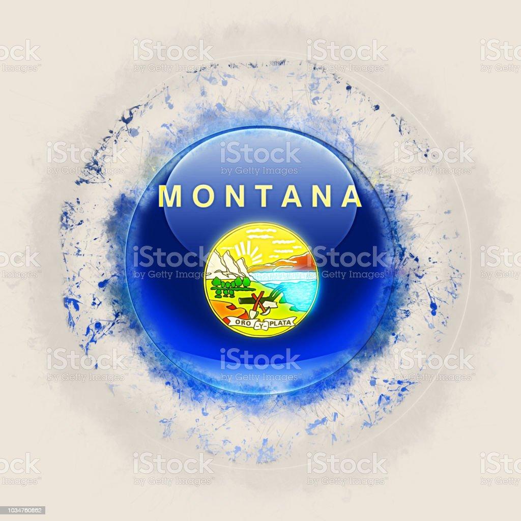 Bandeira do estado de Montana em um ícone do grunge redondo. Bandeiras de locais dos Estados Unidos. Ilustração 3D - foto de acervo