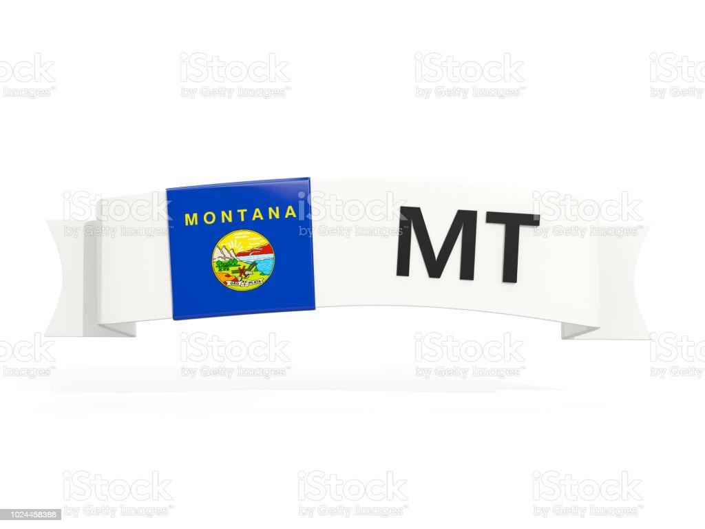 Bandeira do estado de Montana no banner com abreviatura postal isolada no branco - foto de acervo