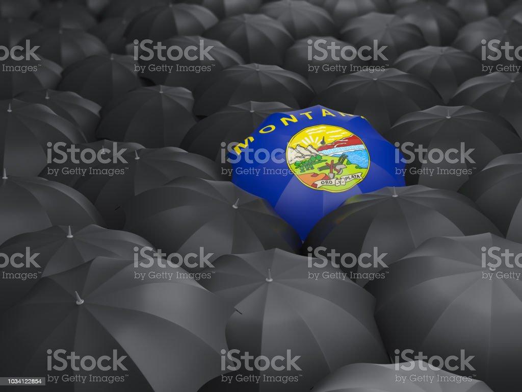 Bandeira do estado de Montana no guarda-chuva. Bandeiras de locais dos Estados Unidos - foto de acervo